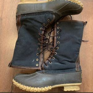 LL Bean Canvas Sheep Lined Boots Size 9